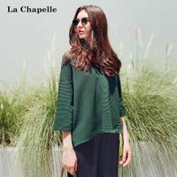 拉夏贝尔2017秋装新款韩版宽松V领系带套头针织衫上衣女10013329