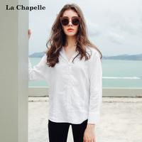 拉夏贝尔2017秋季新款气质大V领长袖白衬衫女职业宽松亚麻女装10013590