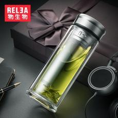 物生物风范双层玻璃杯男女创意茶杯夏天水杯过滤带盖便携水晶杯子