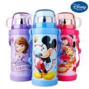 【包邮】迪士尼Disney-双盖保温杯400毫升双层高真空不锈钢感温变色滑锁扣学童男女吸管背带户外水壶瓶杯