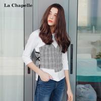 拉夏贝尔假两件T恤女式2017秋装新款学生韩版bf宽松外穿七分袖上衣女士10014551