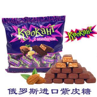 俄罗斯进口KPOKAHT紫皮糖巧克力杏仁夹心糖500克*2包