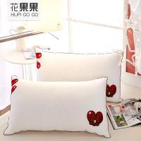 花果果 水洗棉羽丝绒枕 纯白枕头枕芯 防潮易干燥 卡通绣花枕