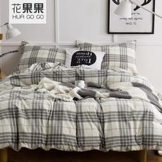 花果果 复古格纹法兰绒 床上四件套 经典格纹 柔软舒适
