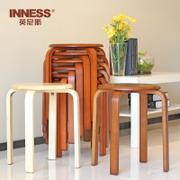 英尼斯实木凳圆凳家用餐桌凳时尚创意小木头矮板凳成人木凳子餐凳 ST9820