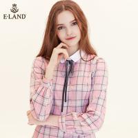 ELAND秋冬2018新款韩版街头修身格子单排扣衬衫连衣裙EEOW84T41A