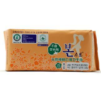 本恩 纯棉量少型日用卫生巾28片