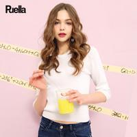 puella 2018春装新款韩版学生内搭上衣白色七分袖修身显瘦打底针织衫女20011588