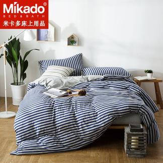 米卡多天竺棉四件套全棉裸睡条纹床笠式针织棉纯棉四件套床上用品