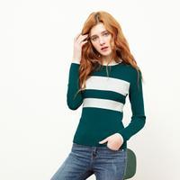 puella长袖套头打底衫女2018春季新款韩版学生基础条纹休闲显瘦针织衫20011810