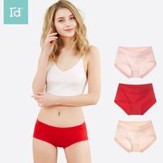 爱帝女式蕾丝小平角裤本命年红色内裤三角裤棉质面料三条装