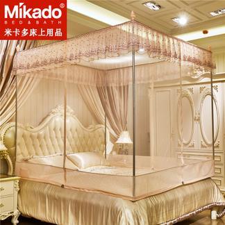 米卡多蚊帐三开门公主风坐床式拉链1.5m床蒙古包1.8m米床双人床家用蚊帐88162