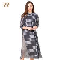 佐尔美2018春夏新品条纹百搭修身显瘦桑蚕丝连衣裙E72LS108