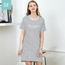I'd爱帝新款女式条纹字母短袖裙纯棉夏季舒适透气印花家居裙子