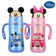 【包邮】迪士尼Disney-不锈钢儿童保温杯300毫升宝宝水瓶双柄带吸管幼孩学园暖水壶卡通盖趣味水杯