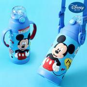 【包邮】迪士尼Disney-米奇蓝双柄保温杯320毫升儿童吸管水瓶把手背带多用宝宝壶3D浮雕图文户外学园幼孩冷暖水杯