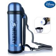 【包邮】迪士尼Disney-蓝色不锈钢保温壶1100毫升大容量保冷暖车载家用出游肩背手提水瓶壶杯