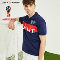 JackJones杰克琼斯 世界杯官方授权FIFA新品法国男装夏翻领T恤衫 218306514