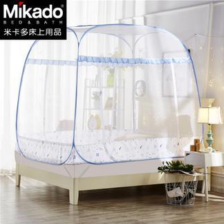 米卡多蚊帐免安装蒙古包床钢丝账方顶拉链1.5米三开门1.2学生宿舍
