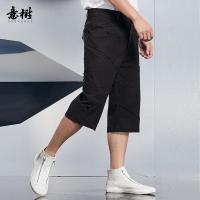 意树中国风短裤男六分裤拼接舒适休闲裤工装裤薄款百搭青年裤夏XAHB77C3543