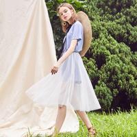 puella连衣裙子女夏季2018新款韩版中长款印花仙女网纱收腰短袖两件套装20012604【夏款】
