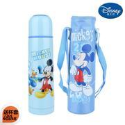 【包邮】迪士尼Disney-米奇蓝子弹头保温杯480毫升不锈钢背带冷热水壶旅行户外休闲便携直饮暖水瓶