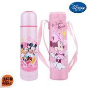 【包邮】迪士尼Disney-米妮粉子弹头保温杯480毫升不锈钢背带冷热水壶旅行户外休闲便携直饮暖水瓶