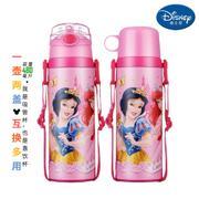 【包邮】迪士尼Disney-粉公主双盖保温杯480毫升不锈钢保冷热水壶感温变色吸管杯直饮杯孩童学园背带户外暖水瓶杯壶