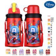 【包邮】迪士尼Disney-美国队长红双盖保温杯550毫升不锈钢感温变色男女吸管杯直饮杯两用孩童学园成长杯有背带户外休闲运动冷暖水瓶壶杯