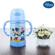 【包邮】迪士尼Disney-米奇蓝双柄弹盖婴童保温杯260毫升不锈钢儿童吸管背带杯宝宝暖水瓶热饮杯壶