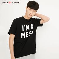 JackJones杰克琼斯夏男士字母印花纯棉圆领短袖T恤新款218201569