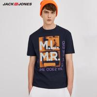JackJones杰克琼斯夏男纯棉轻薄字母印花宽松短袖T恤218201513
