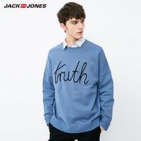 JackJones杰克琼斯字母棉宽松圆领男士夏运动套头卫衣E|218133505
