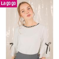 Lagogo2018夏季新款圆领百搭韩版上衣白色蝴蝶结绑带五分袖T恤女HATT433Y42