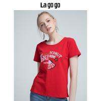 Lagogo2018夏季新款百搭时尚红色上衣休闲圆领印花短袖T恤女 潮HATT315Y09