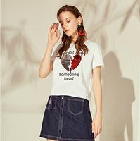 【拉夏贝尔线上专享仅售139元】拉夏贝尔2018新款百搭宽松字母亮片T恤上衣