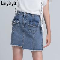Lagogo2018夏季新款时尚半裙小清新短裙高腰裙子女牛仔半身裙女HABB155F51