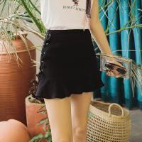 Lagogo2018夏新款纯色高腰显瘦半身裙女修身绑带小黑裙短款裙子HABB135Y42