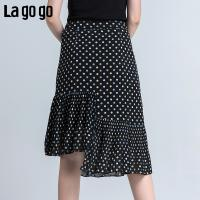 Lagogo2018年夏季新款时尚民族风不规则波点印花半身裙女鱼尾裙HABB204F53
