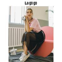 Lagogo2018夏季新款黑色高腰网纱半身裙女飘逸中长裙宽松A字裙子HABB235Y44