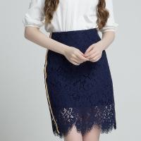 Lagogo拉谷谷2018夏季新款女蕾丝甜美高腰半身裙包臀裙韩版中裙潮HABB294H42