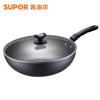 苏泊尔炒锅真不锈铁锅无涂层精铁锅炒菜锅具FC32T4