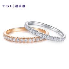 TSL谢瑞麟18K金钻石戒指女白金玫瑰金群镶钻戒BA119