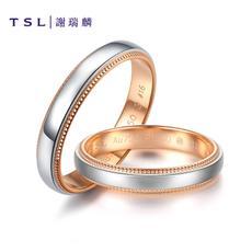 TSL谢瑞麟18K金戒指情侣铂金亮面双色女戒AD865-AD866