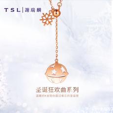 TSL谢瑞麟18K金项链圣诞女玫瑰金铃铛套链AG065