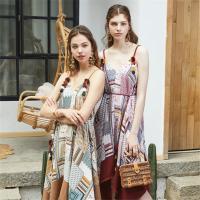 Vero Moda2019夏季新款吊带流苏民族图案方巾连衣裙|31927A572