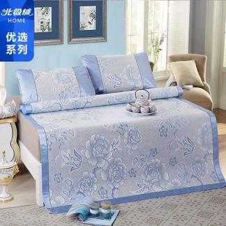 北极绒冰丝凉席三件套-蓝色150*200cm