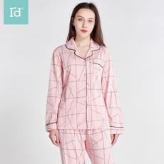 爱帝2019新款女式长袖长裤家居套简约女空调服套图案睡衣女纯棉套