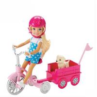芭比 Barbie芭比娃娃小凯莉狗狗骑行套装女孩玩具生日礼物女生CLG02