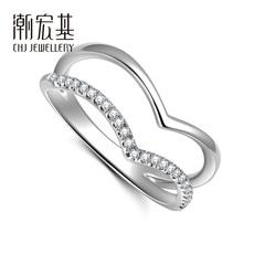 潮宏基珠宝 迷笛系列-白18k金钻石戒指女戒